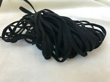 "Black Elastic Earloop, Soft Flat Ear Loop Cord Tie - 10Yd 1/4 "" 5mm SHIPS USA"