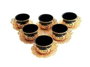 Turkish Tea Coffee Saucers 12 pieces Cup Set Gold Black Colour Luxury Boxed UK