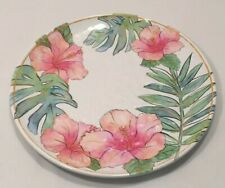 """Coastal Home Flamingle 11"""" x 11"""" Hibiscus Flowers Tropical Plate Pink Gold Green"""