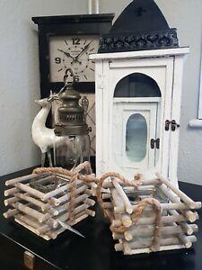 Set of Two Wooden Lantern Candle Holder Hurricane Lamp Garden Wedding HomeLO0274
