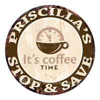 CWSS-0273 PRISCILLA'S STOP&SAVE Coffee Sign Birthday Mother's Day Gift Ideas