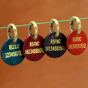 Personalized Pet Dog ID Tags Leather Round Disc Heavy Duty Dog Cat Name Engraved
