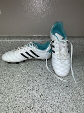 Adidas Women Cleat Shoes Size 6 1/2 White & Turquoise Spg753001 Baseball Soccer