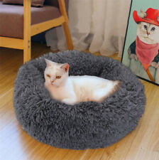 Cat Dog Warm Plush Bed Round Calming Soft Fur Donut Cuddler Pet Sleeping Bed S-L