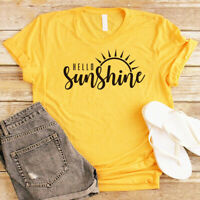 Women Hello Sunshine Sun Blouse Tee Funny Top Short Sleeve Casual Letter T-Shirt