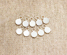 925 Sterling Silver 10 Round Tag Charms 5mm.