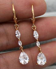 "18K Yellow Gold Filled - 1.1"" Luxe Waterdrop Topaz Zircon Women Party Earrings"