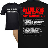 funny men's t shirt Rules For Dating Daughter birthday father gift Dad birthday