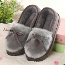 Winter Fur Slides Slippers Fuzzy Home Loafer Faux Plush Non-Slip Indoor Footwear