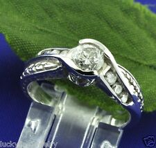 Natural Champagne Diamond Ring Antique Inspired 0.75 ct 14k White Gold ladies