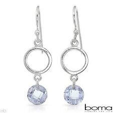 BOMA 925 STERLING SILVER AND VIOLET CUBIC ZIRCONIA HOOK DANGLE EARRINGS