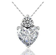 "Clear Swarov Ski Elements Cubic Zirconia Heart Free 18"" Necklace"