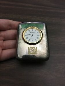 Bey-Berk 20th Century Fox Miniature Quartz Desk Clock Silver Plated New Battery