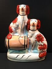 """Antique 19th C Staffordshire 8"""" Rust & White Spaniels Chained to Barrel Marked"""