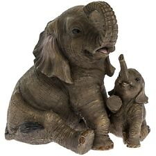 Out of Africa - Sitting ELEPHANT with CALF Figurine Ornament (12cm) *Boxed*