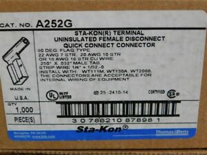 """1000 Thomas&Betts A252G STA-KON Uninsulated .250"""" Female Quick Connect Terminals"""