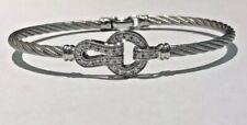 NEW Charriol Grey Stainless Steel Cable 18K White Gold & Diamonds Bracelet