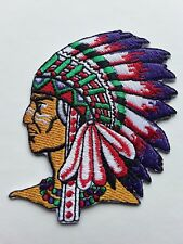 NATIVE AMERICAN RED INDIAN CHIEF HEAD EMBROIDERED SEW ON  PATCH UK SELLER