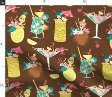 Hawaii Tiki Drinks Cocktails Mid-Century Luau Fabric Printed by Spoonflower Bty