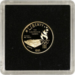 1995-W US Gold $5 Olympic Stadium Commemorative Proof - Coin in Square Holder