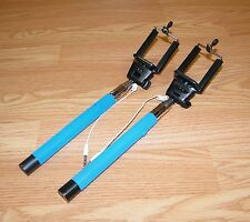 Lot of 2 Wired Monopod Extendable Flex Head Blue Rubber Grip Handle Selfie Stick