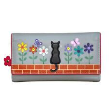 MALA Leather Cat Purse Grey Ladies TriFold Coin Card Holder Large Wallet Purses