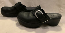 Crocs Women's Cobbler Buckle Clogs Slip On Mules Shoes Black Leather Size 7W