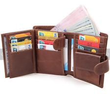 Portefeuille pour Homme Cuir Veritable Blocage RFID Trois Volets Cartes Billets