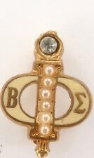 `VINTAGE BETTA PHI SIGMA GOLD PLATED, SEED PEARL & CZFRATERNITY / SORORITY PIN.