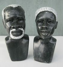 Vintage Hand-Carved Stone African Man & Woman Sculptures Busts