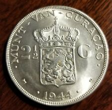 Curacao 2 1/2 Gulden 1944 D  silver 200 K mintage Higher Grade Collector
