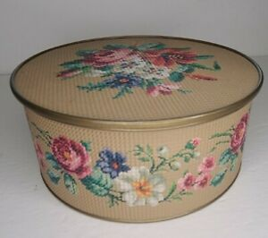 Vintage 1940s Guildcraft New York Floral Textured Round Sewing Tin Container