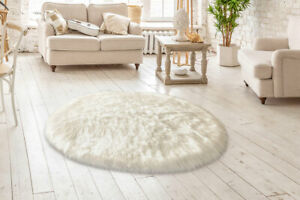 Lambzy FAUX  OVAL Sheepskin,Silky Shaggy Rug,Soft Touch Fur -WHITE color