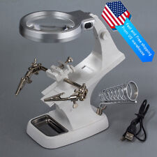 Soldering Iron Holder Stand Welding Third Hand Clamp With LED Lens Magnifier