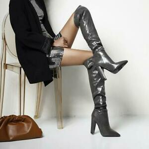Women Block Heel Boots Over The Knee Thigh High Faux Pointy Toe Leather Party