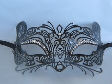 Black Fox Cat Mouse Filigree Metal Masquerade Mask - Express Post Available