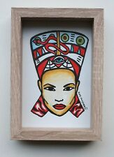 Nefertiti Queen - Gobbolino 2017 Pen Pencil Framed Original Art Gothic Drawing