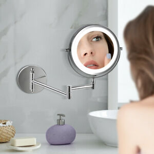 5 x Magnifying LED Chrome Wall Mounted Bathroom Mirror Shaving Make Up Round