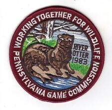 """1983 Pa Game Comm Working Together For Wildlife River Otter 4"""" Patch Orginal"""
