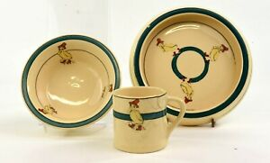 ROSEVILLE POTTERY JUVENILE WARE THREE PIECE SET DUCKS IN BOOTS