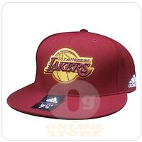 adidas NBA los angeles lakers burgundy gold logo fitted cap hat size 7