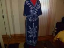 NWT Just Love Short Sleeves V-Neck Empire Waist Full Length Blue/White Dress 1X.