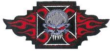 Aufnäher Totenkopf Flammen Eisernes Kreuz Iron Cross Skull Patch 14x7,5 cm *NEU*