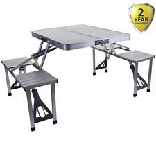 PORTABLE FOLDING CAMPING TABLE PICNIC OUTDOOR CHAIR STOOLS SET TRESTLE COMPACT