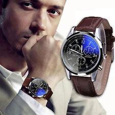 Luxury Military Sport Men's Stainless Steel Quartz Date Leather Wrist Watch