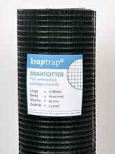 Volierendraht Drahtgitter Drahtzaun Maschendraht 12m x 1m schwarz 16x16mm Masche