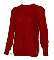 SUPERDRY Albany New Womens Knit Jumper Red Textured Ribbed Trim Branded Tab BNWT
