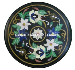 Black Marble Coffee Table Top Floral Marquetry Inlay Mosaic Outdoor Decor H2436