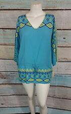 One World Blue Green Yellow GeoPrint Tunic Top Blouse Shirt Sz L