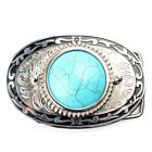 Design Turquoise Floral Silver Metal Belt Buckle Womens Western Native American